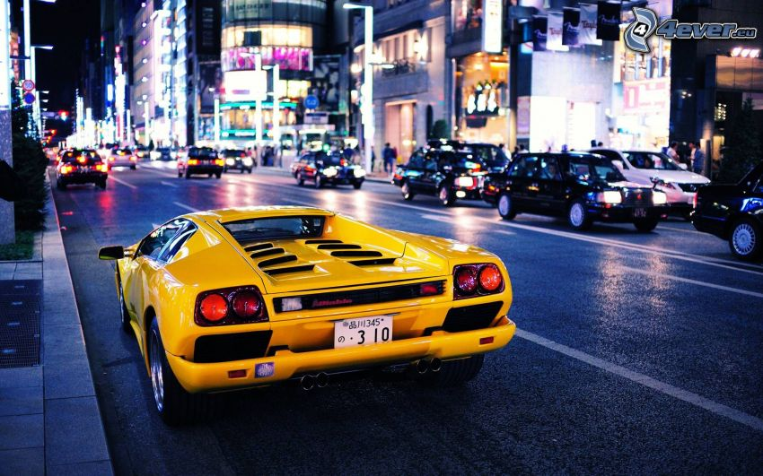 Lamborghini Diablo, Straße, Nachtstadt