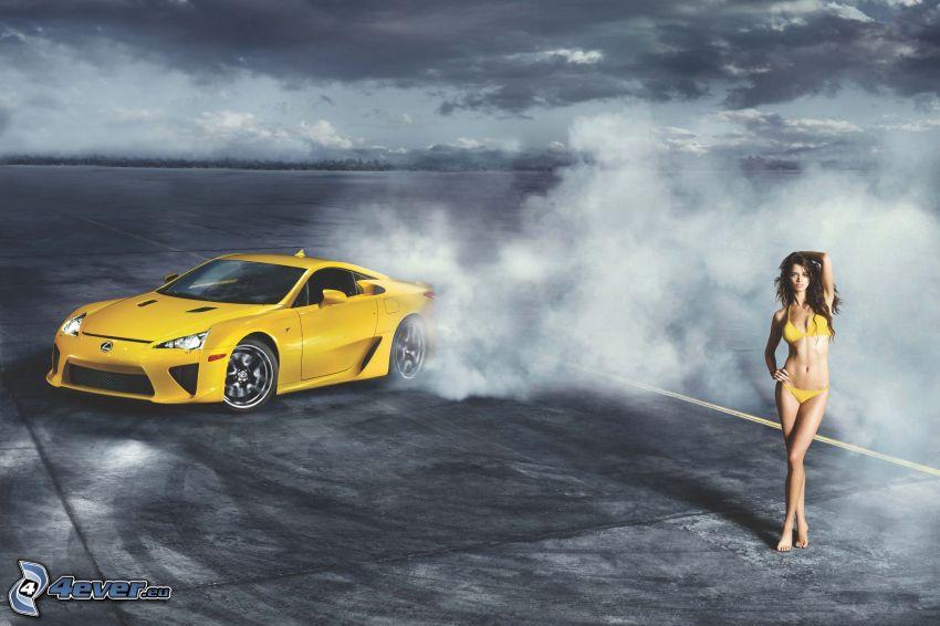 Lexus LFA, burnout, Rauch, sexy Brünette, Modell