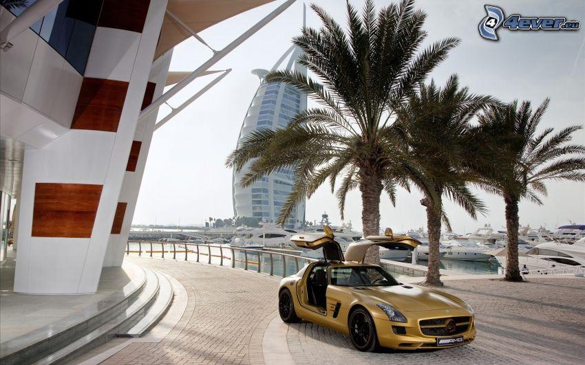 Mercedes-Benz SLS AMG, Tür, Palmen, Bürgersteig, Burj Al Arab