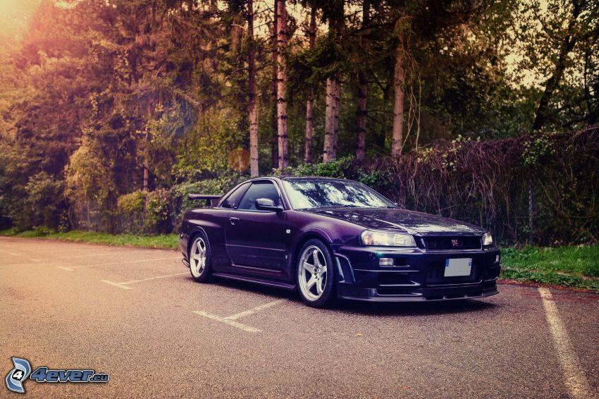 Nissan Skyline GT-R R34, Wald, Parkplatz