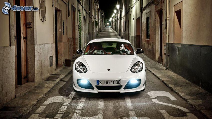 Porsche, Straße, Häuser, stop
