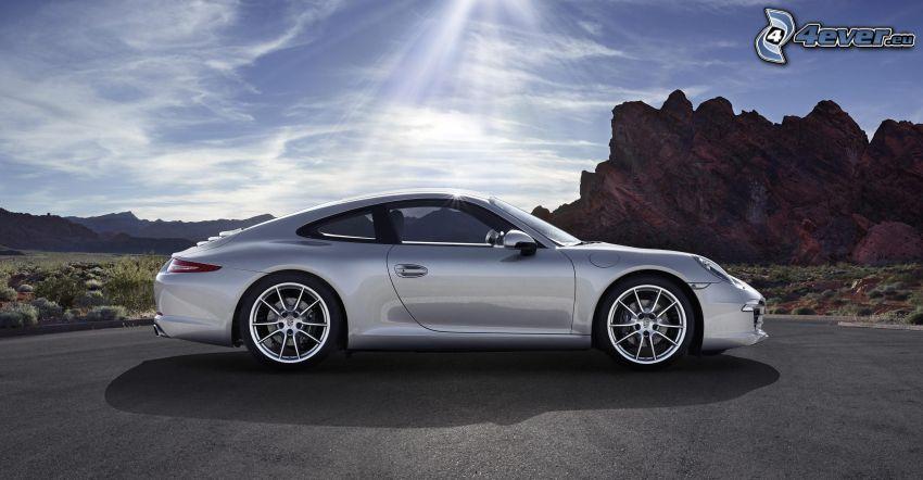 Porsche 911, Sonnenstrahlen, Felsen
