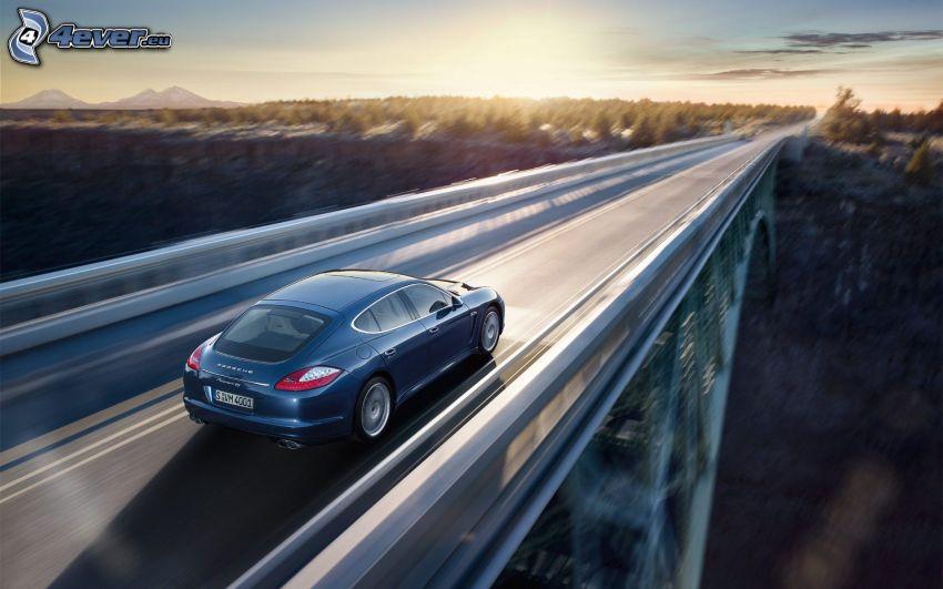 Porsche Panamera, Brücke, Sonnenuntergang, Geschwindigkeit