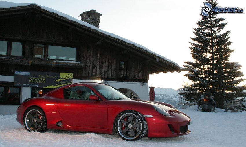 Ruf RK Coupe, schneebedeckte Hütte