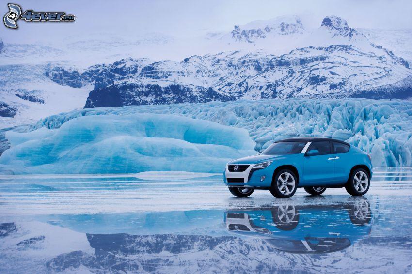 volkswagen, SUV, Konzept, gefrorene Landschaft, schneebedeckte Berge