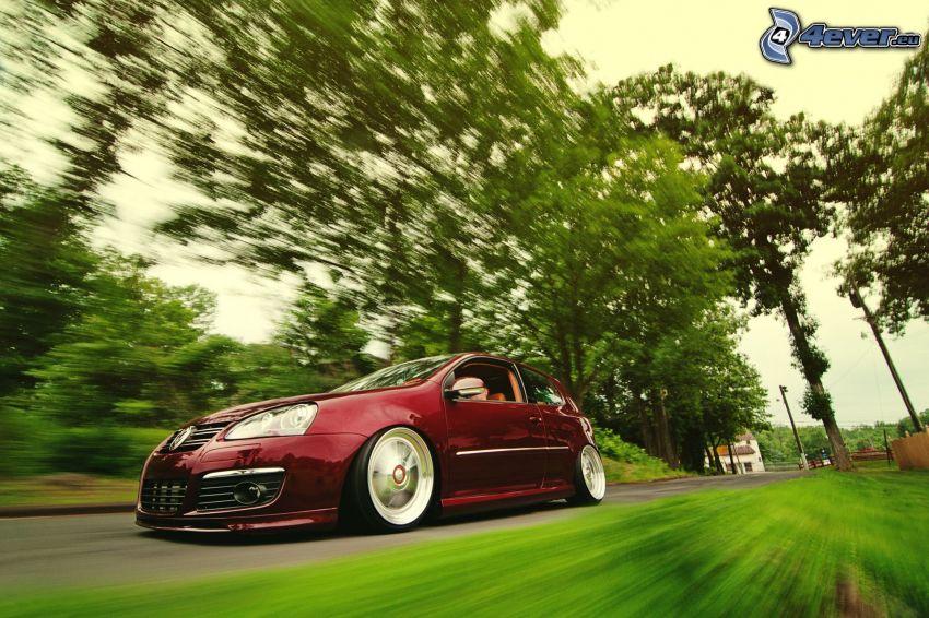 Volkswagen Golf, Geschwindigkeit, Bäume, lowrider