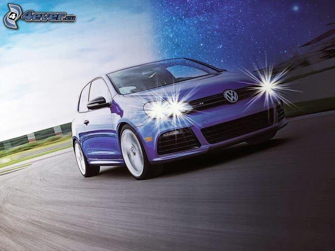 Volkswagen Golf, Straße, Geschwindigkeit, Lichter
