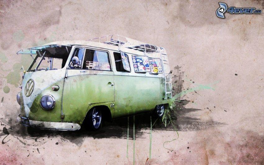 Volkswagen Type 2, Oldtimer, Malerei