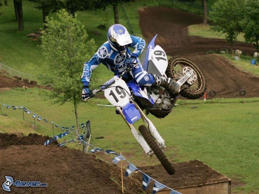 Sprung auf den Motorräd, Akrobatik, motocross, Rennen