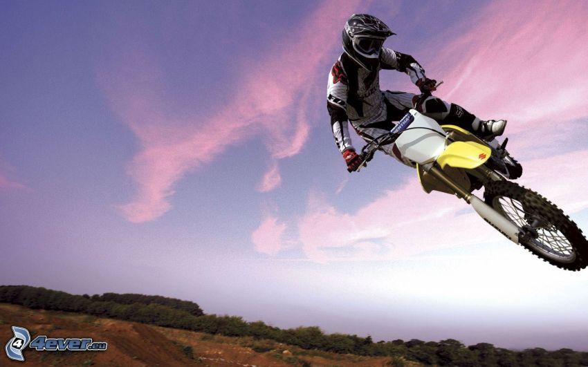Sprung auf den Motorräd, Akrobatik, motocross