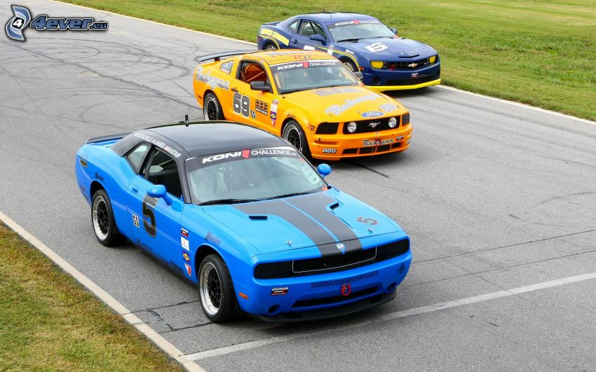 Dodge Challenger, Ford Mustang, Chevrolet Camaro