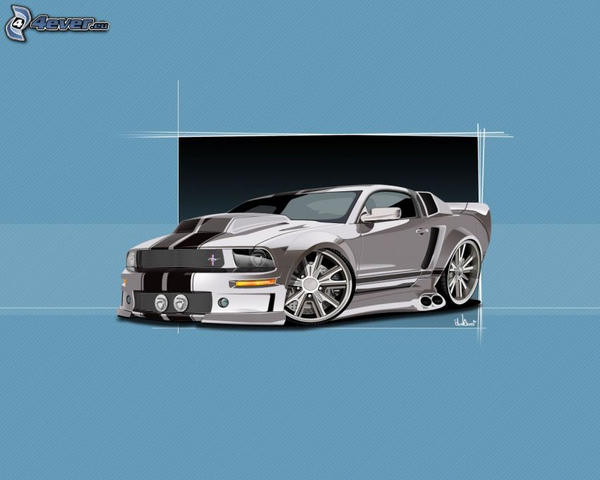 Ford Mustang, tuning, gezeichnetes Auto