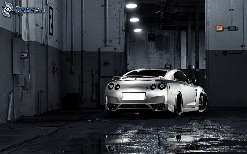 Nissan GTR, Schwarzweiß Foto