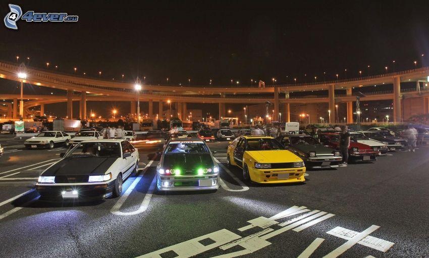 tuning, Autos, Parkplatz, Lichter, Beleuchtung, Nacht, Brücke