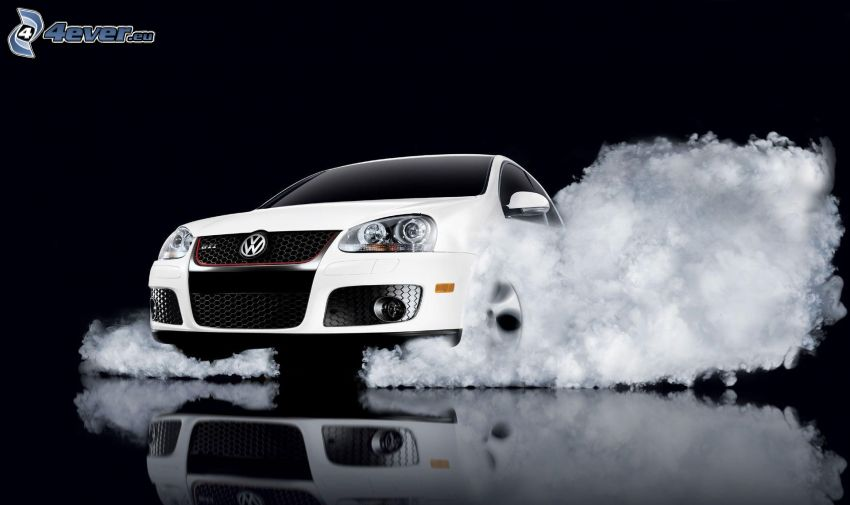 Volkswagen Golf, burnout, Rauch