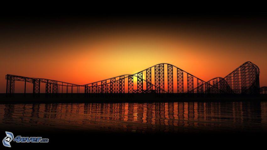 Achterbahn, orange Sonnenuntergang