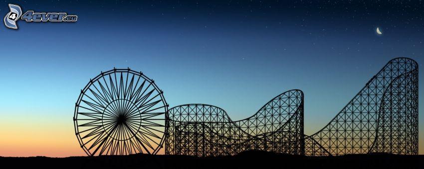 Achterbahn, Riesenrad, Abendhimmel, Silhouetten