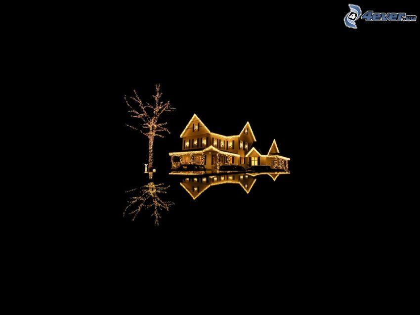 beleuchtete Haus, Baum