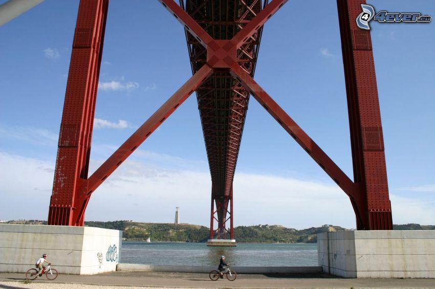 25 de Abril Bridge, unter der Brücke, Kreuz, Radfahrer