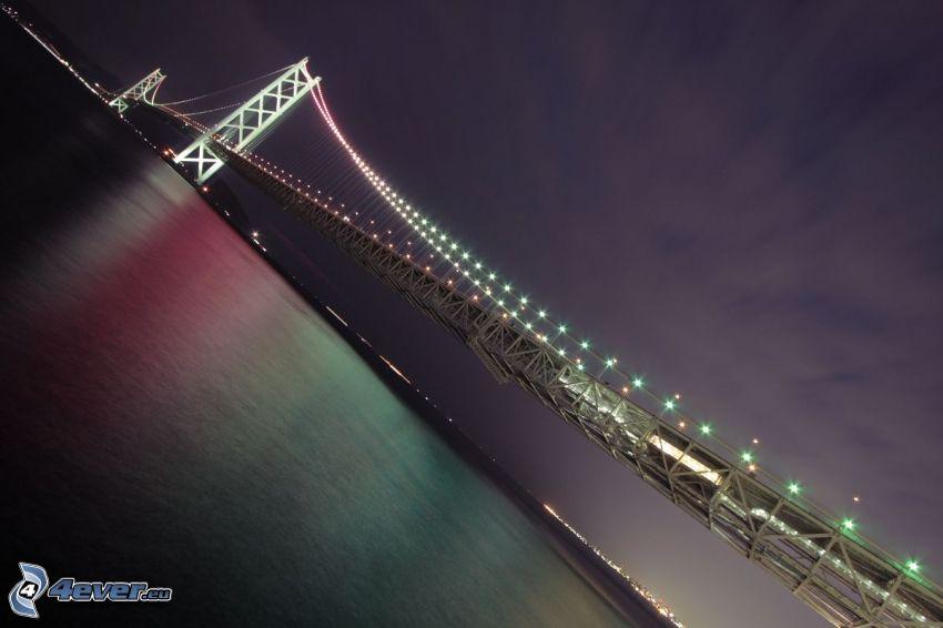Akashi Kaikyo Bridge, beleuchtete Brücke