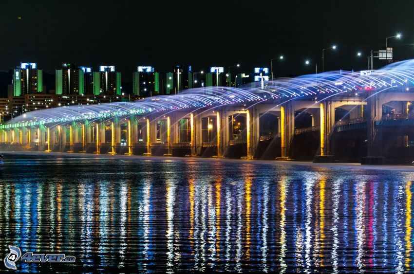 Banpo Bridge, Nachtstadt, beleuchtete Brücke, Springbrunnen