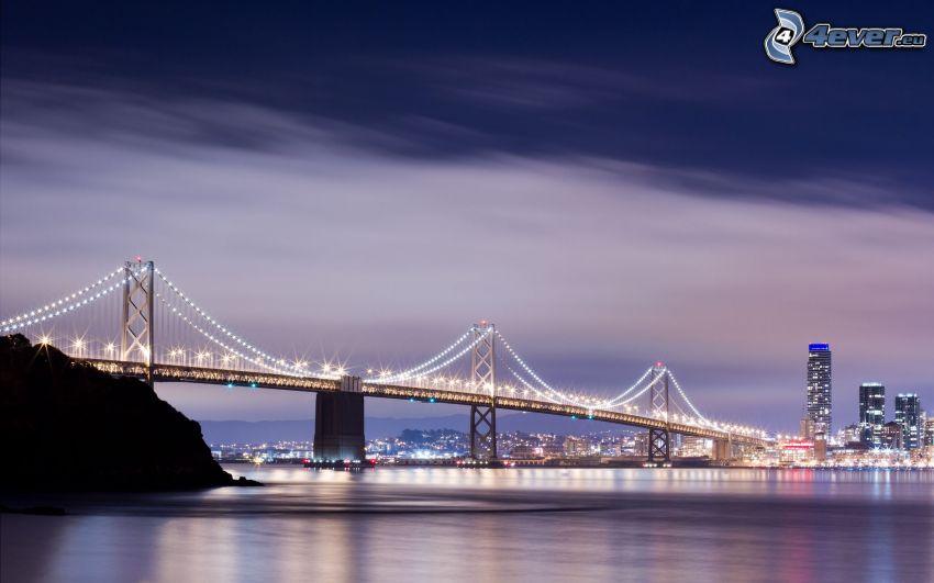 Bay Bridge, beleuchtete Brücke, San Francisco
