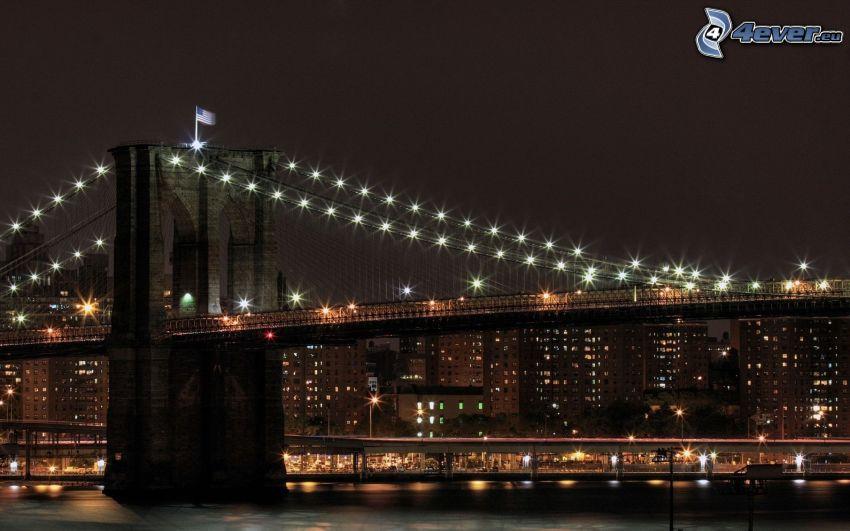 Brooklyn Bridge, beleuchtete Brücke