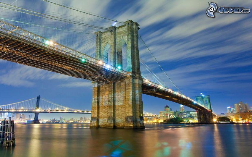 Brooklyn Bridge, Brücke, Abend, HDR