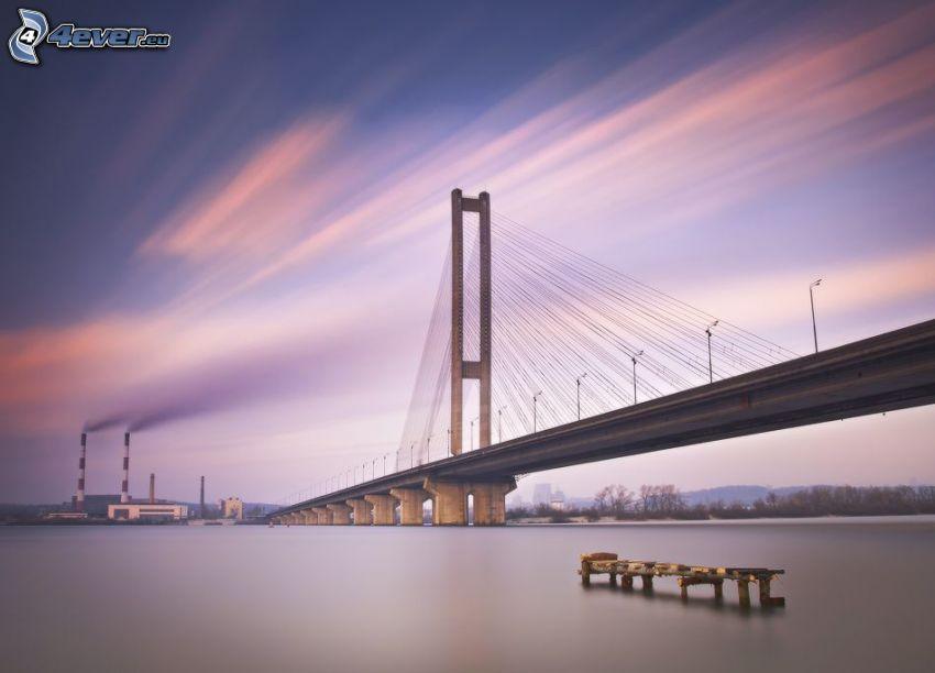 Brücke, Kiew, Fluss, Schornsteine