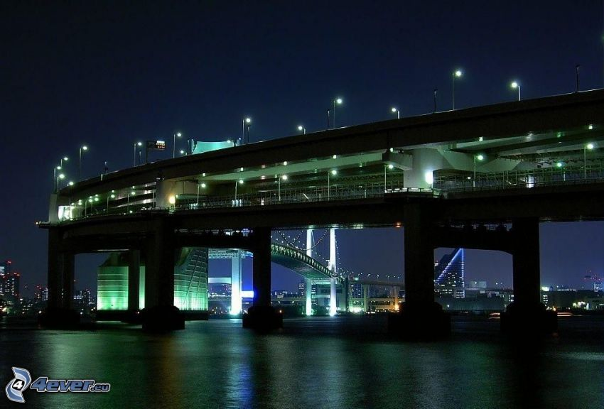 Brücke, Singapur, Nacht, Straßenlampen