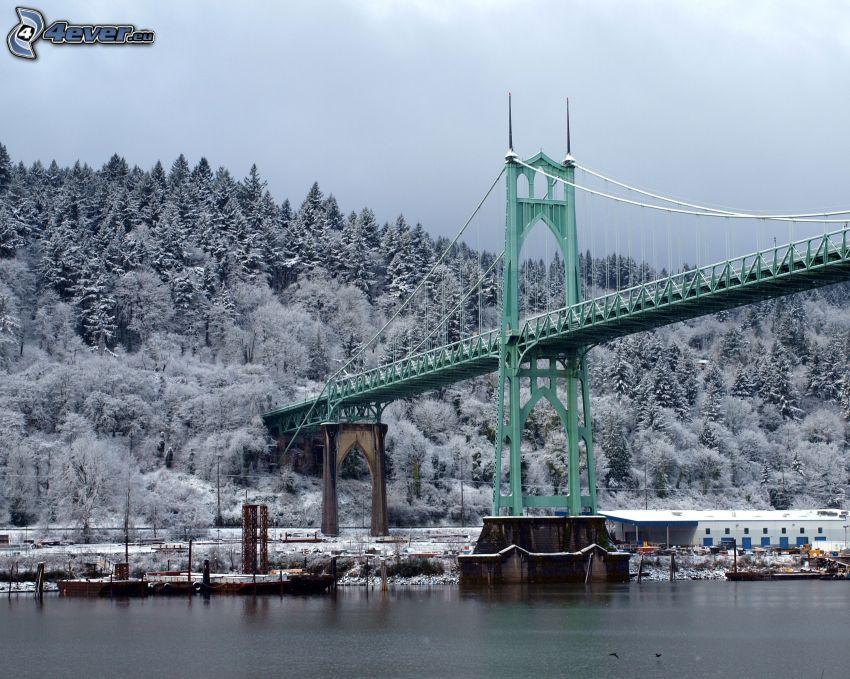Brücke St. Johns, verschneite Bäume, Willamette