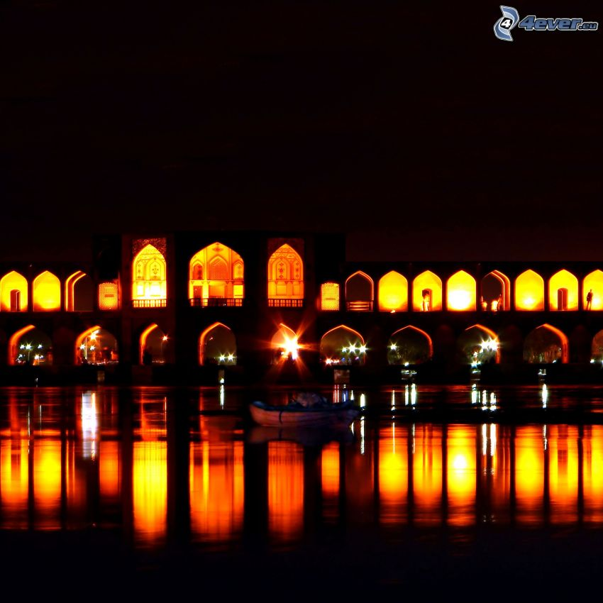 Khaju Bridge, beleuchtete Brücke, Nacht