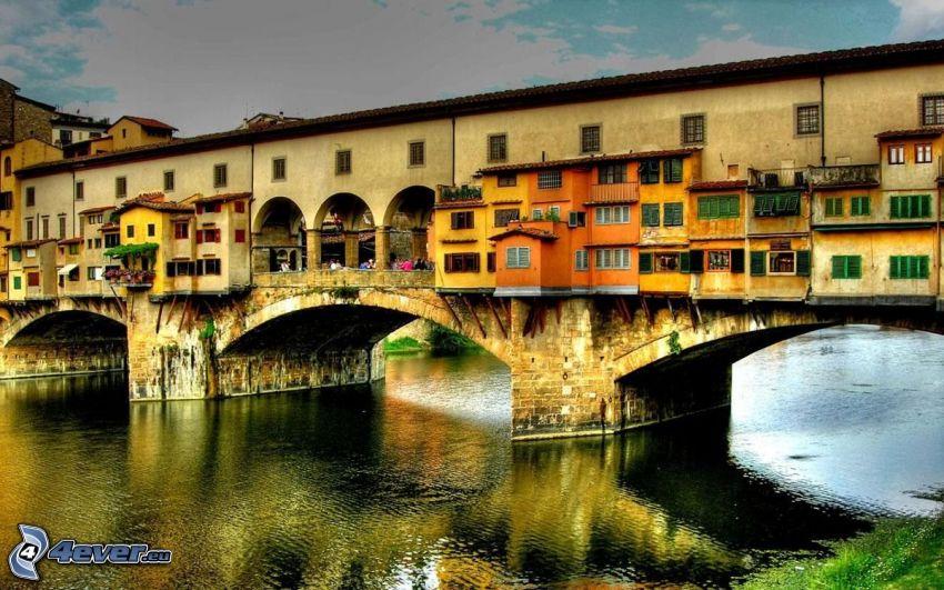 Ponte Vecchio, Florenz, Arno, Fluss, Brücke