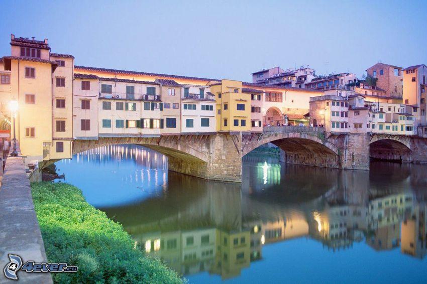 Ponte Vecchio, Florenz, Spiegelung, Arno, Fluss, Brücke