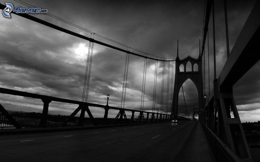 St. Johns Bridge, Schwarzweiß Foto