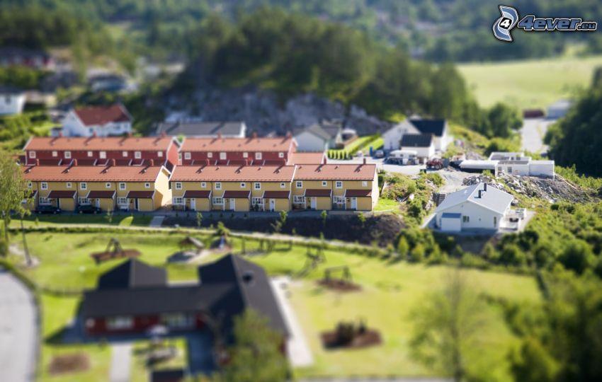 Dorf, reihe Häuser, diorama