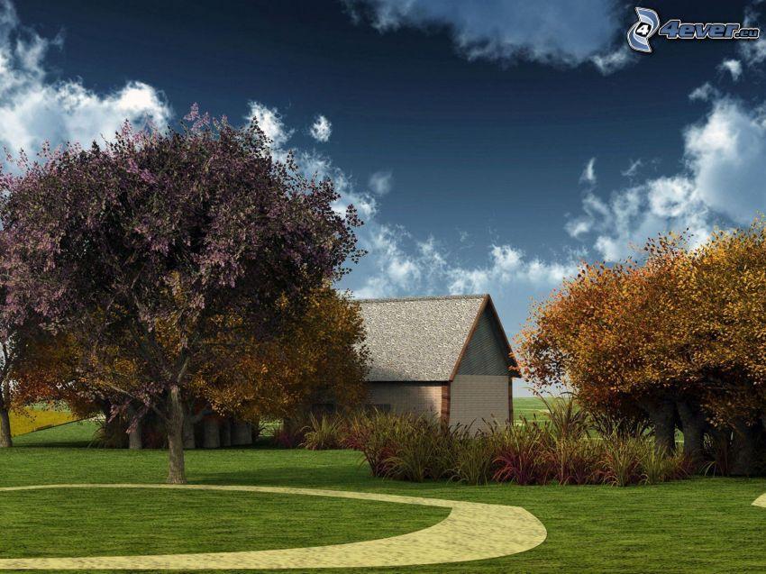 Häuschen, Garten, Bäume