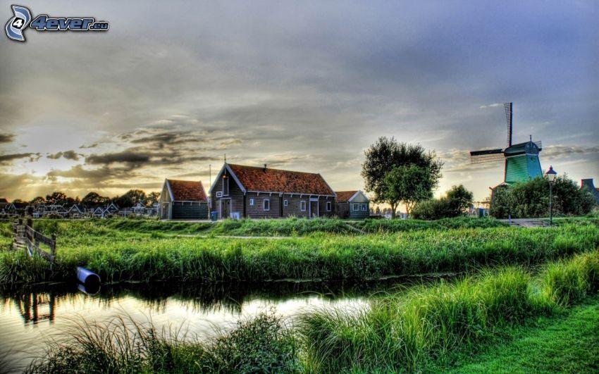Häuser, Windmühle, Bach, Gras, Himmel, HDR