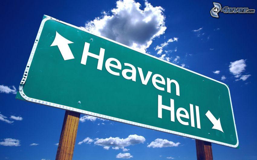 Himmel, Hölle, Schild, Wolken