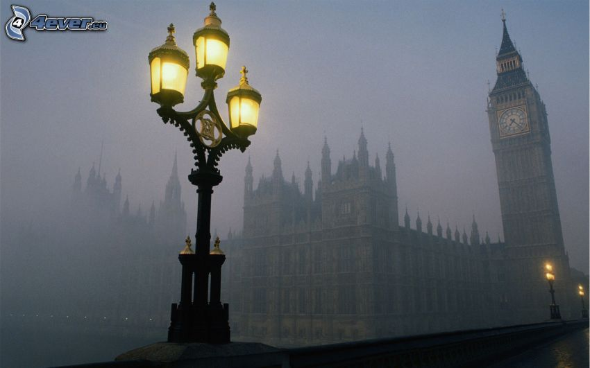Big Ben, London, England, Lampe, Nebel