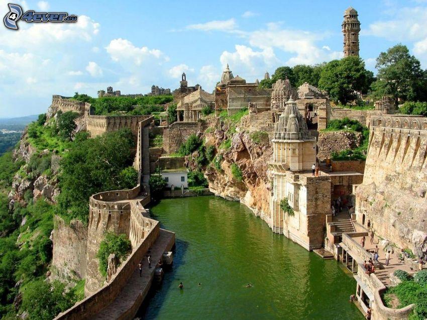 City, Indien, Bassin, grünes Wasser
