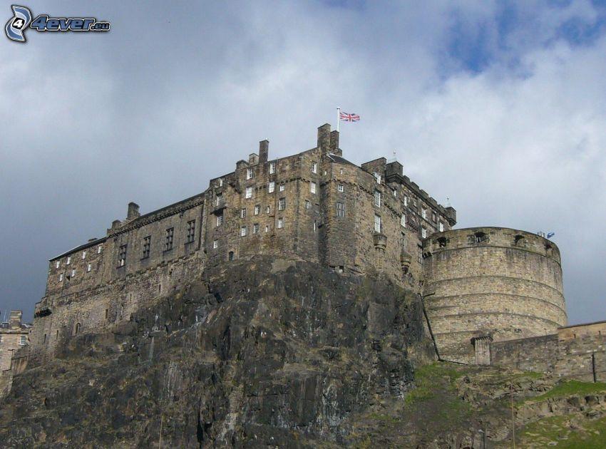 Edinburgh Castle, Felsen, Englisch Flagge