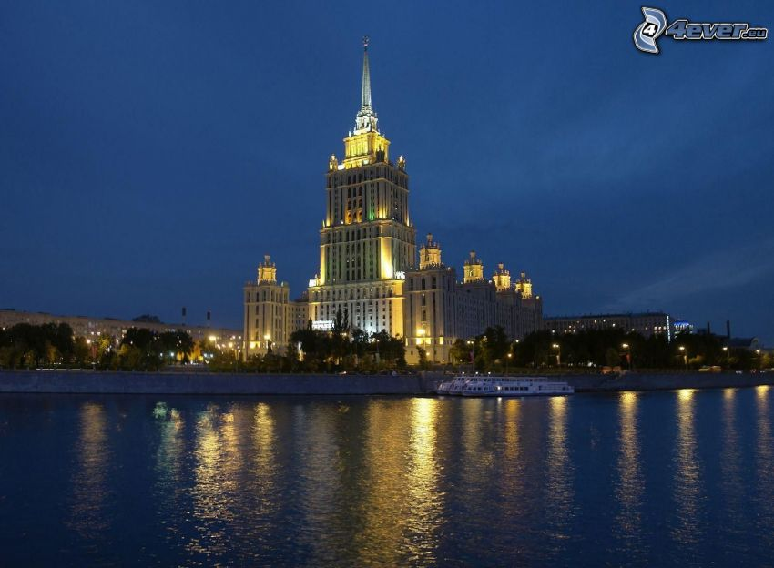Gebäude, Moskau, Abend, Beleuchtung, Fluss