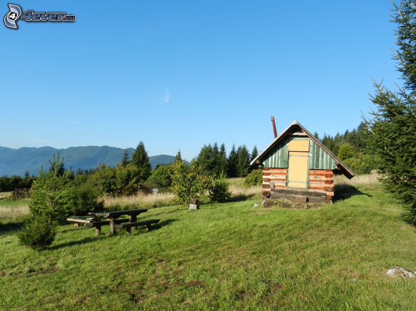 Hütte, Himmel, Gras, Hügel