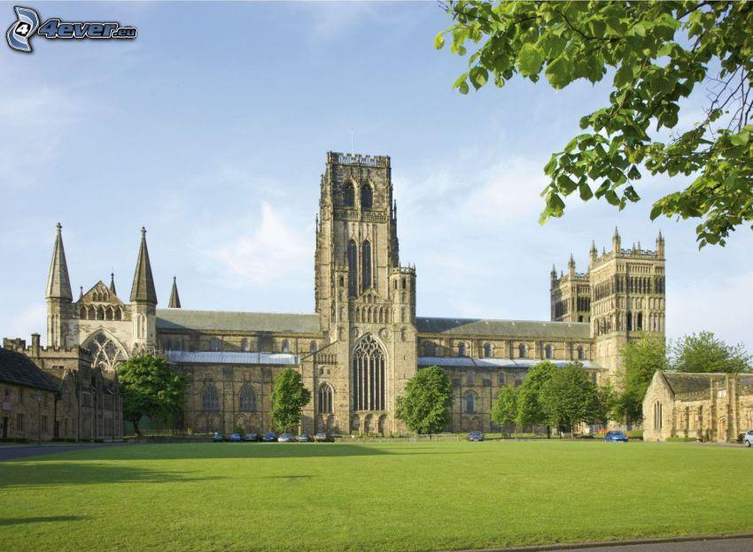 Kathedrale von Durham, Rasen, grüne Bäume