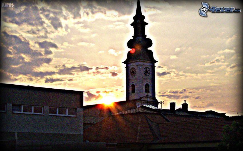 Kirchturm, Sonne, City