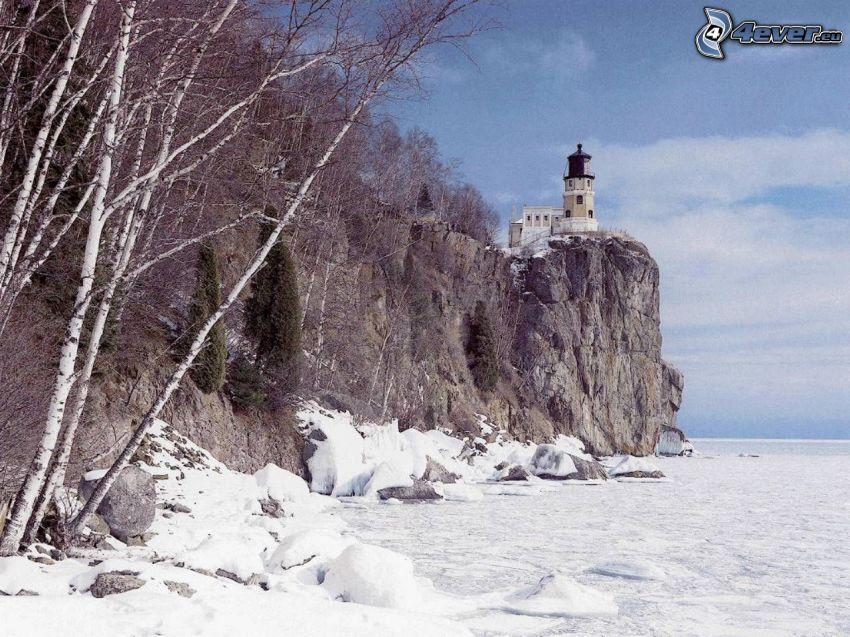 Leuchtturm auf der Klippe, gefrorenes Meer, Wald