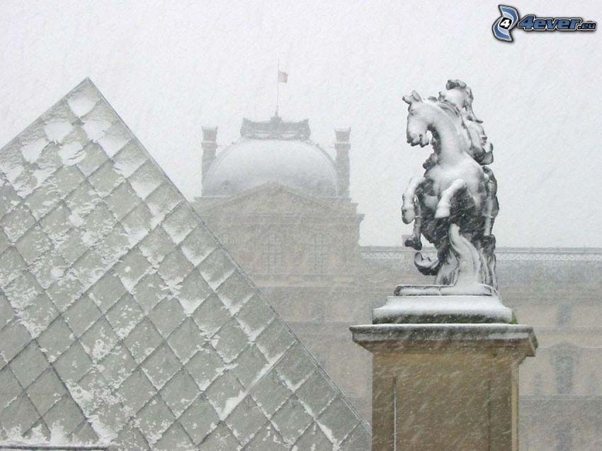 Louvre, Paris, Schnee