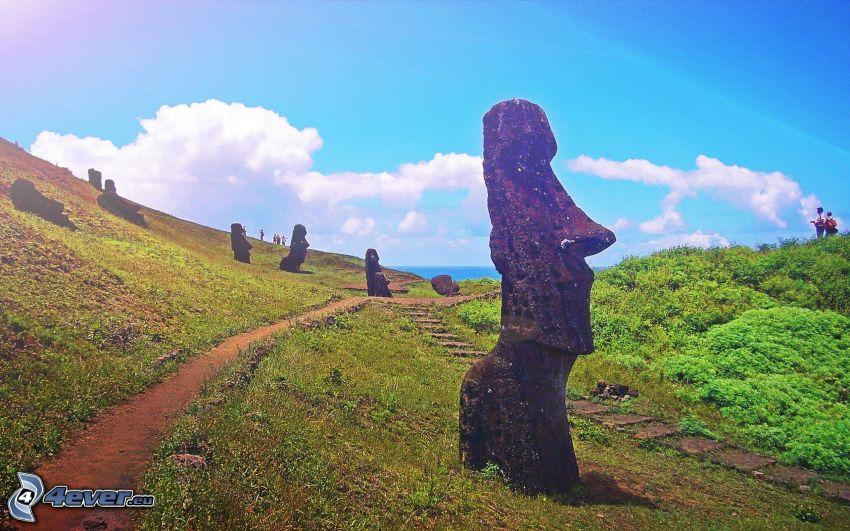 Moai-Statuen, Gehweg, Osterinseln