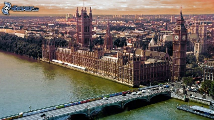 Palace of Westminster, britisches Parlament, Big Ben, London, Themse, Brücke